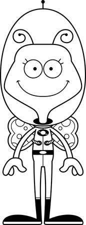 spaceman: A cartoon spaceman butterfly smiling. Illustration