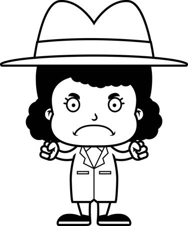 A cartoon detective girl looking angry.