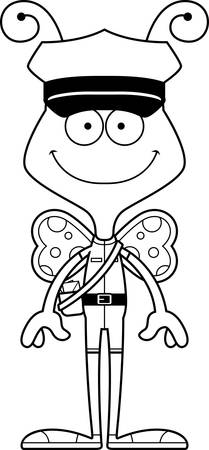 A cartoon mail carrier butterfly smiling.
