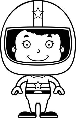 race car driver: A cartoon race car driver girl smiling.