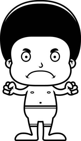 enfant maillot de bain: Un garçon de bande dessinée regardant en colère dans un maillot de bain.
