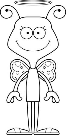 butterfly  angel: A cartoon angel butterfly smiling.
