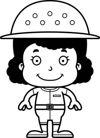 pith: Una chica empleado del zool�gico de dibujos animados sonriendo.