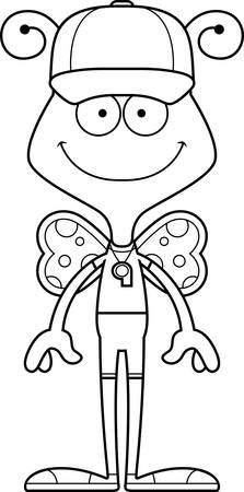 A cartoon coach butterfly smiling.