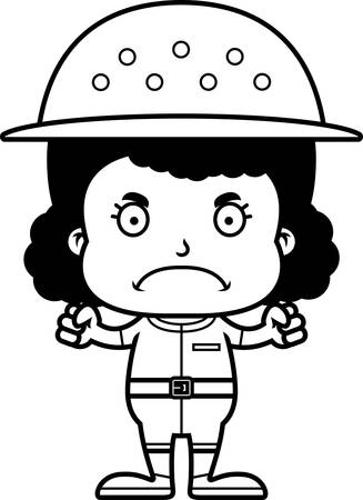 frown: A cartoon zookeeper girl looking angry. Illustration