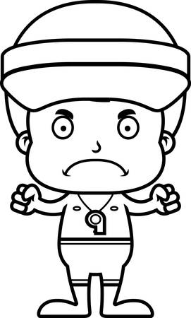 frown: A cartoon lifeguard boy looking angry.