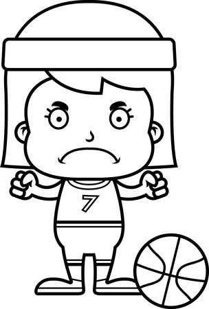 frown: A cartoon basketball player girl looking angry.