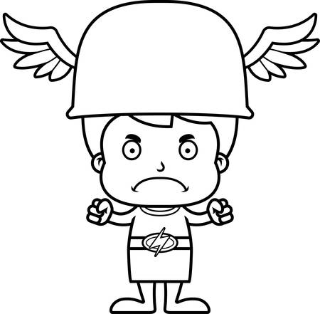 hermes: A cartoon Hermes boy looking angry.