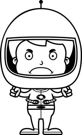 frown: A cartoon astronaut boy looking angry.