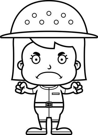 pith: Una chica empleado del zool�gico historieta que parece enojado.