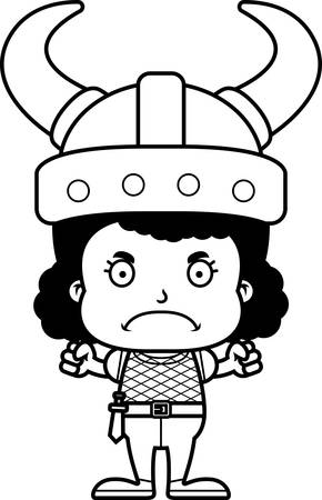frown: A cartoon Viking girl looking angry. Illustration