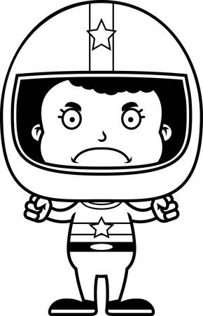 frown: A cartoon race car driver girl looking angry.