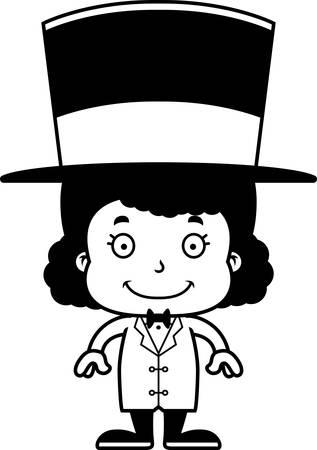 ringmaster: A cartoon ringmaster girl smiling. Illustration
