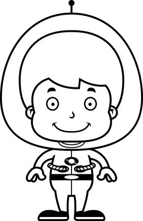 spacesuit: A cartoon spaceman boy smiling.