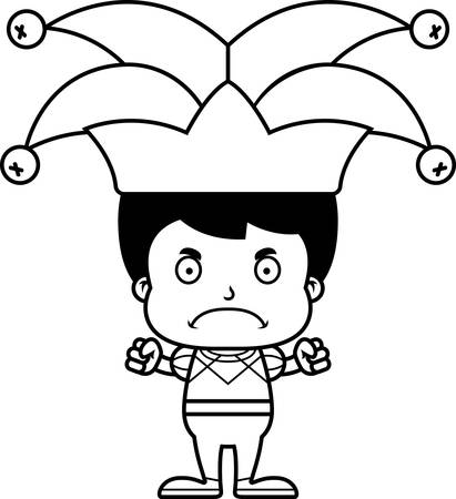 frown: A cartoon jester boy looking angry.