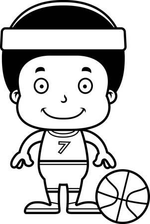 boy basketball: A cartoon basketball player boy smiling. Illustration