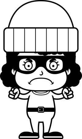 burglars: A cartoon thief girl looking angry.