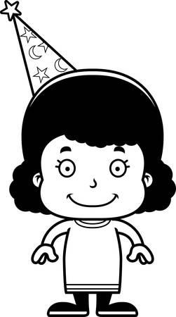 A cartoon wizard girl smiling.