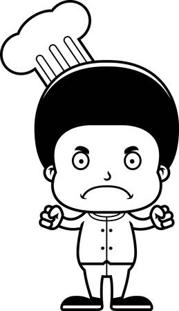 frown: A cartoon chef boy looking angry. Illustration