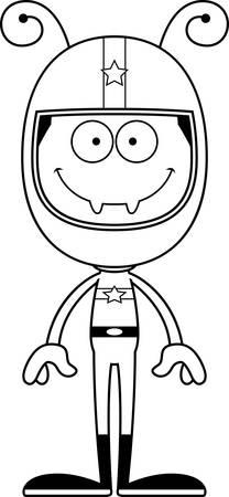 race car driver: A cartoon race car driver ant smiling. Illustration