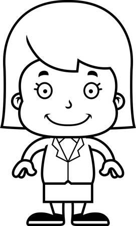 businesspersons: A cartoon businessperson girl smiling.
