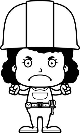 tool belt: A cartoon construction worker girl looking angry. Illustration