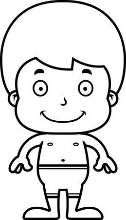 enfant maillot de bain: Un gar�on de bande dessin�e de sourire en maillot de bain.