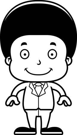 businessperson: A cartoon businessperson boy smiling. Illustration