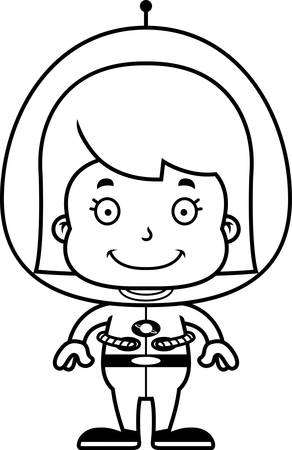 spaceman: A cartoon spaceman girl smiling. Illustration
