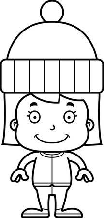 winter girl: A cartoon winter girl smiling. Illustration