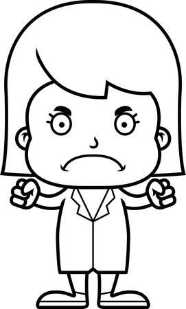 A cartoon doctor girl looking angry. Illusztráció