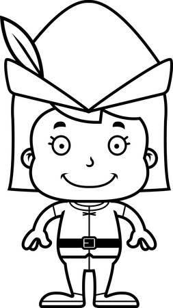 robin hood: A cartoon Robin Hood girl smiling.