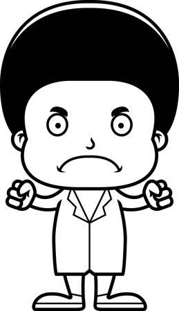 A cartoon doctor boy looking angry.