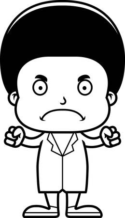 frown: A cartoon doctor boy looking angry.