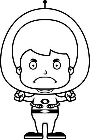 spaceman: A cartoon spaceman boy looking angry.