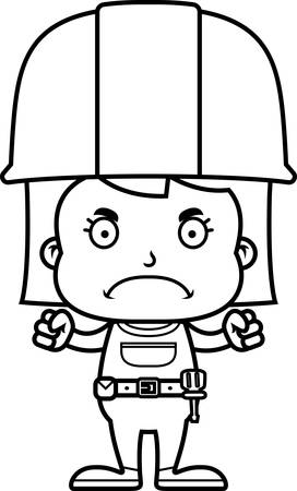 frown: A cartoon construction worker girl looking angry. Illustration