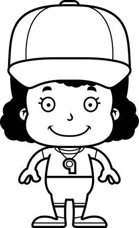 A cartoon coach girl smiling.