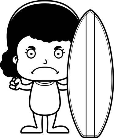 enfant maillot de bain: Une jeune fille de surfer de bande dessinée regardant en colère. Illustration