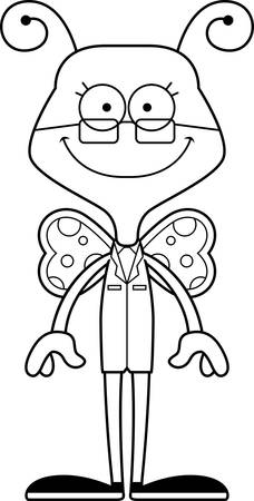 researcher: A cartoon scientist butterfly smiling.