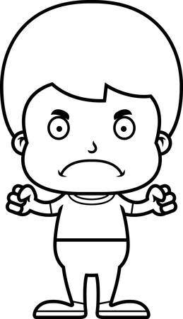 frown: A cartoon boy looking angry.