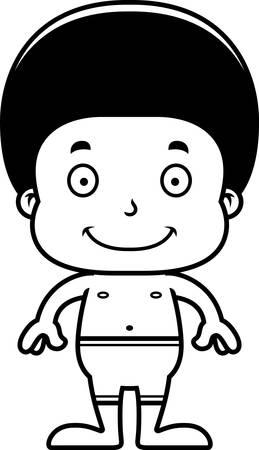 enfant maillot de bain: Un garçon de bande dessinée de sourire en maillot de bain.