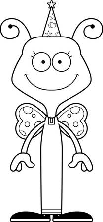 A cartoon wizard butterfly smiling. Ilustrace