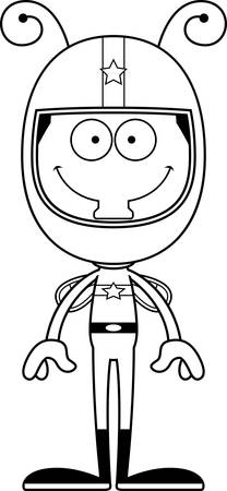 happy driver: A cartoon race car driver fly smiling.