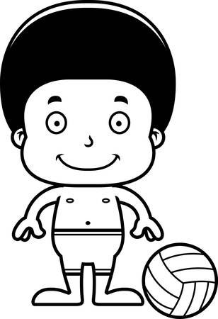 playa caricatura: A cartoon beach volleyball player boy smiling.