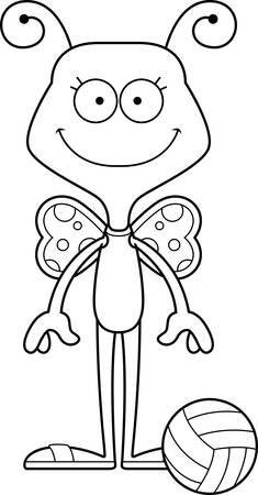beach butterfly: A cartoon beach volleyball player butterfly smiling.