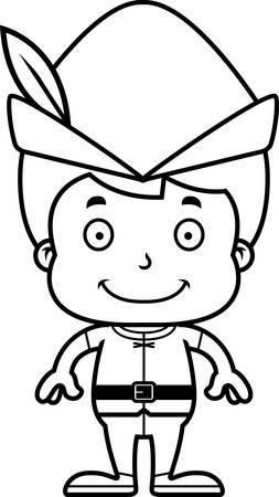 robin hood: A cartoon Robin Hood boy smiling.