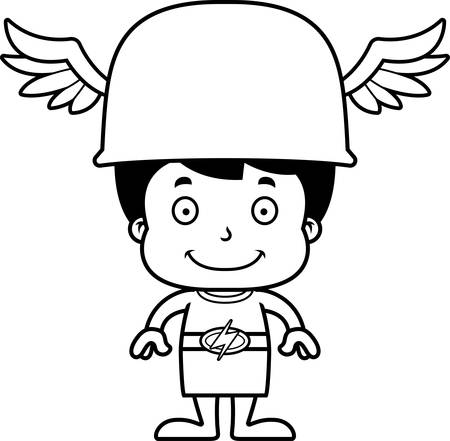 hermes: A cartoon Hermes boy smiling.