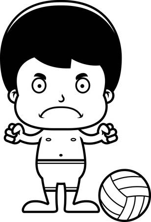 frown: A cartoon beach volleyball player boy looking angry. Illustration