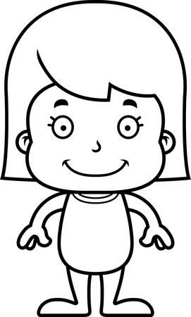 enfant maillot de bain: Une jeune fille de sourire de bande dessinée dans un maillot de bain.