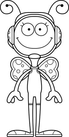 A cartoon wrestler butterfly smiling.
